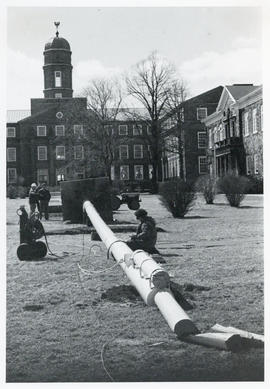 Photograph of the raising of the Flagpole at Studley Campus