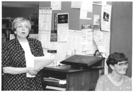 Photograph of W.K. Kellogg Library staff members Betty Sutherland and Linda Cahill