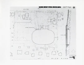 Photograph of a floorplan drawing of the area surrounding the Dalplex