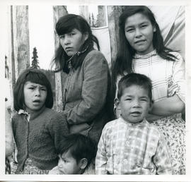 Photograph of five children standing together in Davis Inlet, Newfoundland and Labrador