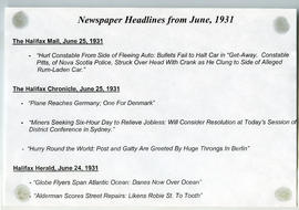 Newspaper headlines about the construction of the Halifax Infirmary in 1931