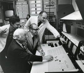 Photograph of a trial hookup of a co-axial cable in the Medical Computer Centre