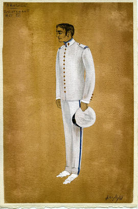 Watercolour costume design featuring a man in military uniform