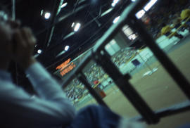 Photograph of a man named David watching handball