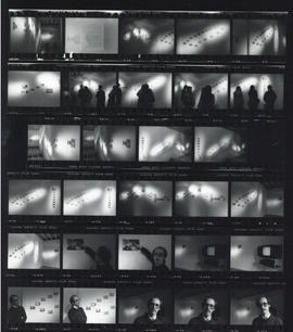 Contact sheet of photographs of The Glass Bead Game installation by Timothy Watters