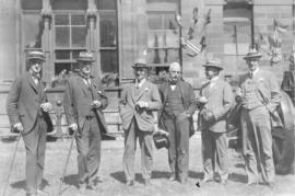 Photograph of six unidentified people at a Dalhousie reunion