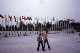 Photograph of the flags in the plaza outside the stadium