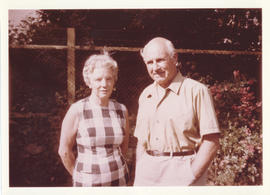 Portrait of Edith and Thomas Head Raddall standing in their garden