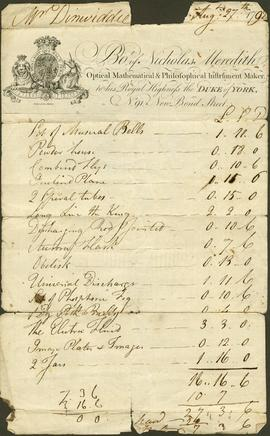 A bill from Nicholas Meredith to James Dinwiddie