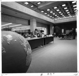 Photograph of the information desk at the Killam Memorial Library