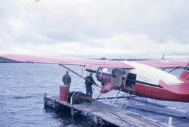 Photograph of a plane on the water near Fort Chimo, Quebec