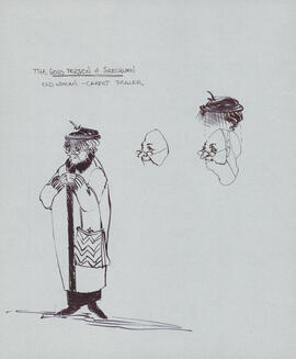 Costume design for old woman, carpet dealer