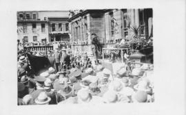 Postcard with a photograph of a ceremony on the front steps on Halifax city hall