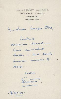 Note from Sir William Stewart Duke-Elder to Ellen Ballon