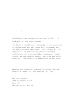Advertisement for the Director position at Eye Level Gallery