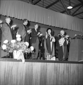 Photograph of the Queen Mother and others at the opening of the Tupper Building