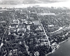 Photograph of an Aerial view of Dalhousie University campus looking north