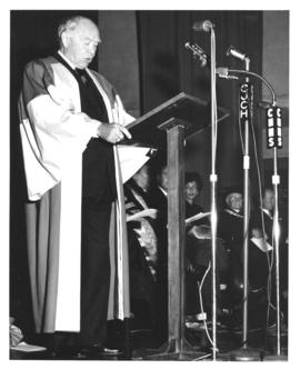 Photograph of Lord Beaverbrook giving an address