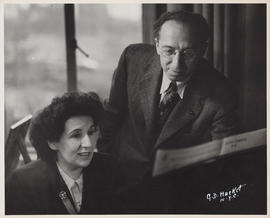 Photograph of Ellen Ballon with Aaron Copland