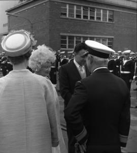 Photograph of the Queen Mother being greeted on the dock in Halifax