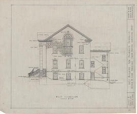 Technical drawing of the west elevation of an arts building for Dalhousie University