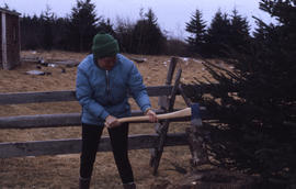 Photograph of Barbara Hinds chopping wood