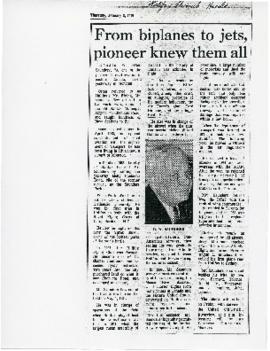 """From Biplanes to Jets, Pioneer Knew Them All,"" Clipping Halifax Chronicle Herald (Janu..."