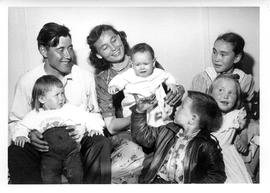 Photograph of George and Joanna Koneak with five children