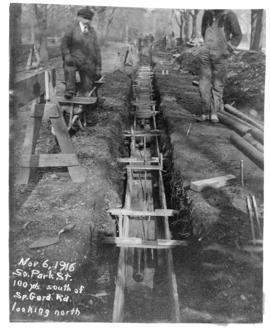 Photograph of construction on South Park street 100 yards south of Spring Garden looking north