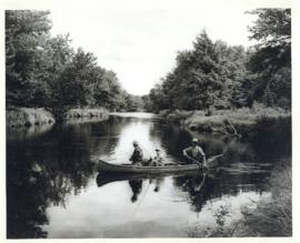 Photograph of three men fishing from a canoe on Mersey River at or near Jacques Landing, above Ke...