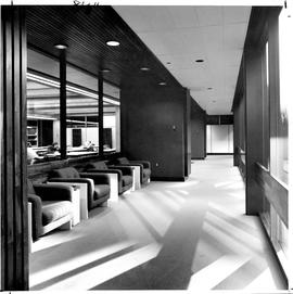 Photograph of a lounge and smoking area in the Killam Memorial Library