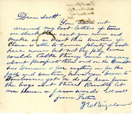 Letter from John Emerson Bigelow to his son Scott Sidney Bigelow