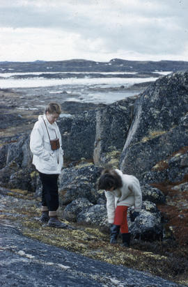 Photograph of Barbara Hinds and another woman in Frobisher Bay, Northwest Territories