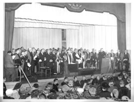 Photograph of the stage at the opening ceremony of the Sir James Dunn Building
