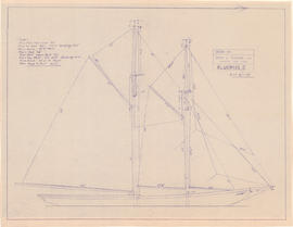 Drawing of the Bluenose II in full sail