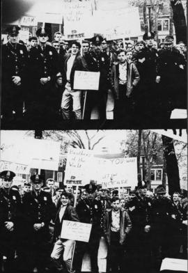Photograph of pro-war demonstrators contained by police officers in Victoria Park at the end of a...