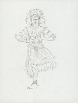 Costume design for three-faced man