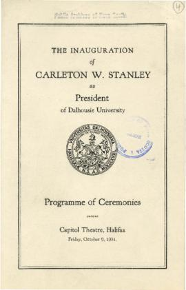 Program from the inauguration of Carleton W. Stanley as president