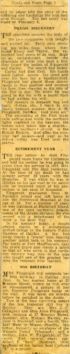 Newspaper clipping about Inspector Francis J. Fitzgerald's lost patrol