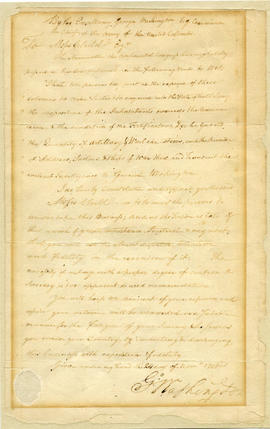 Letter of appointment to Moses Child,  written and signed by George Washington, first President o...