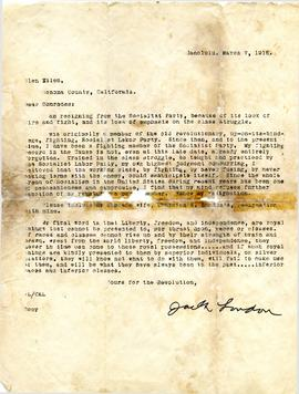 Resignation letter from Jack London to members of the Socialist Party