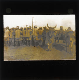 Photograph of unidentified soldiers and an ox drawn cart