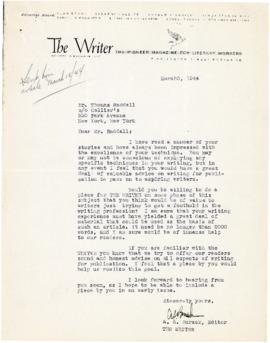 Correspondence between Thomas Head Raddall and The Writer