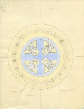 Drawing of the sterling silver Celtic cross that adorns the head of the Dalhousie University mace