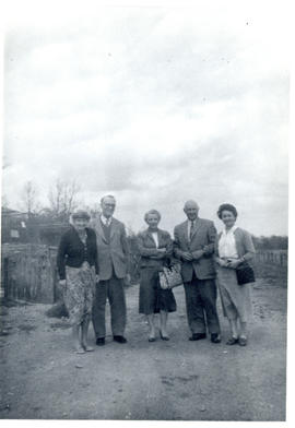 Photograph of Mrs. and Mr. Chestney, Edith and Thomas Head Raddall, and Maureen Beren outside the...