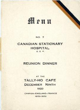 No. 7 Canadian Stationary Hospital reunion dinner menu