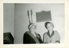 Photograph of Mrs. Harold Thompson and Edith Raddall with the Marshall Saunders memorial plaque i...