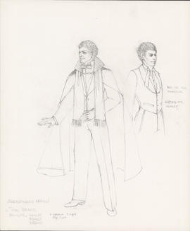 Costume design for Benedick, Hamlet, Romeo, Orsino