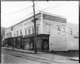 Photograph of McLellan's three stores in New Glasgow