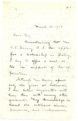 Letter of support for Dr. Daniel Cobb Harvey from Archibald McKellar MacMechan to Edwin Laftus